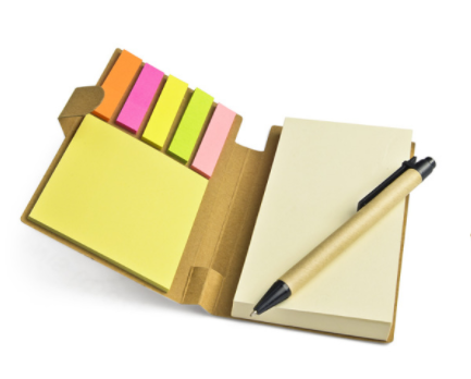 Memoblokje met pen en sticky notes